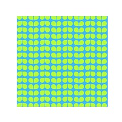 Blue Lime Leaf Pattern Small Satin Scarf (Square)