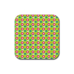 Cute Floral Pattern Rubber Square Coaster (4 Pack)