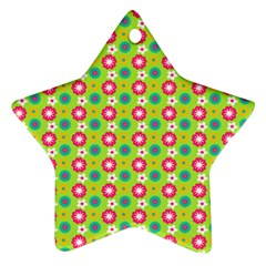 Cute Floral Pattern Star Ornament (two Sides)