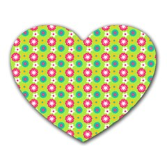 Cute Floral Pattern Heart Mousepads