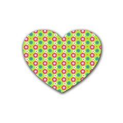 Cute Floral Pattern Rubber Coaster (heart)