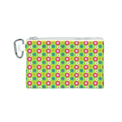 Cute Floral Pattern Canvas Cosmetic Bag (S)
