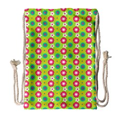 Cute Floral Pattern Drawstring Bag (large)