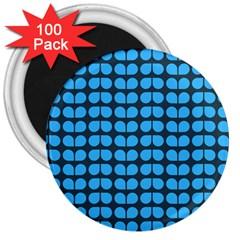 Blue Gray Leaf Pattern 3  Magnets (100 Pack)