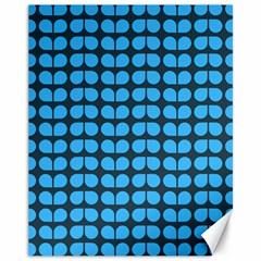 Blue Gray Leaf Pattern Canvas 11  X 14