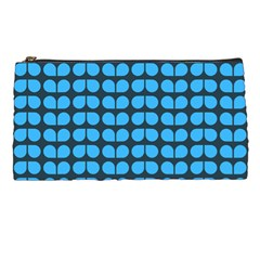 Blue Gray Leaf Pattern Pencil Cases
