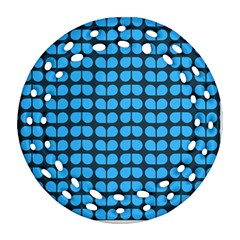 Blue Gray Leaf Pattern Round Filigree Ornament (2Side)