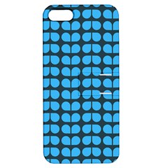 Blue Gray Leaf Pattern Apple Iphone 5 Hardshell Case With Stand