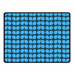 Blue Gray Leaf Pattern Double Sided Fleece Blanket (small)