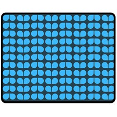 Blue Gray Leaf Pattern Double Sided Fleece Blanket (medium)