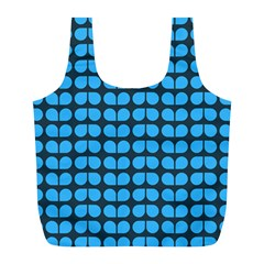Blue Gray Leaf Pattern Full Print Recycle Bags (l)