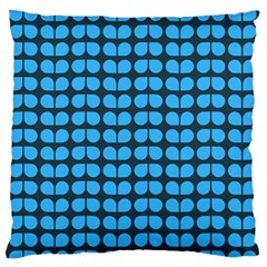 Blue Gray Leaf Pattern Large Flano Cushion Cases (Two Sides)