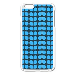 Blue Gray Leaf Pattern Apple Iphone 6 Plus Enamel White Case