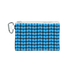 Blue Gray Leaf Pattern Canvas Cosmetic Bag (S)