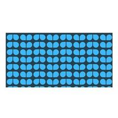 Blue Gray Leaf Pattern Satin Shawl