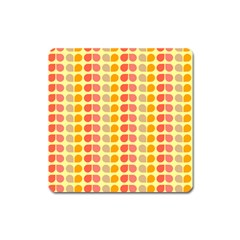 Colorful Leaf Pattern Square Magnet