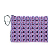 Cute Floral Pattern Canvas Cosmetic Bag (M)