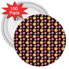 Cute Floral Pattern 3  Buttons (100 Pack)