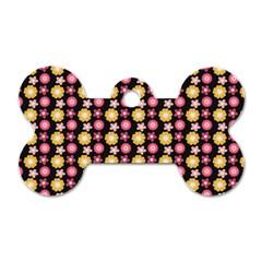 Cute Floral Pattern Dog Tag Bone (one Side)