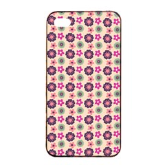 Cute Floral Pattern Apple Iphone 4/4s Seamless Case (black)