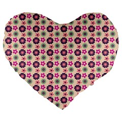Cute Floral Pattern Large 19  Premium Flano Heart Shape Cushions