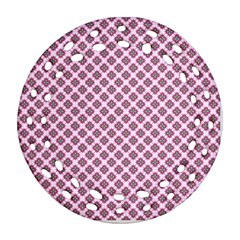 Cute Pretty Elegant Pattern Round Filigree Ornament (2side)