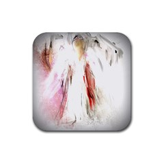 Abstract Angel In White Rubber Square Coaster (4 Pack)