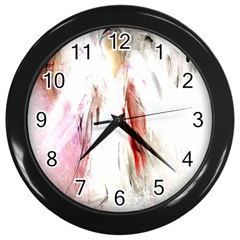 Abstract Angel in White Wall Clocks (Black)