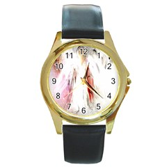 Abstract Angel in White Round Gold Metal Watches
