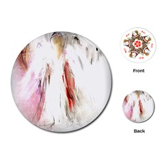 Abstract Angel in White Playing Cards (Round)