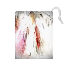 Abstract Angel in White Drawstring Pouches (Large)