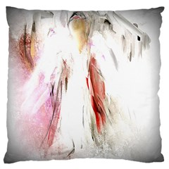 Abstract Angel in White Large Flano Cushion Cases (One Side)