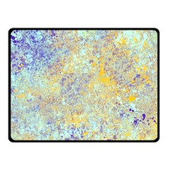 Abstract Earth Tones With Blue  Double Sided Fleece Blanket (small)