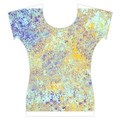Abstract Earth Tones With Blue  Women s Cap Sleeve Top