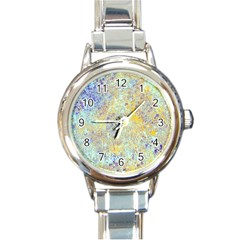 Abstract Earth Tones With Blue  Round Italian Charm Watches