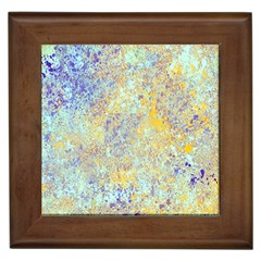 Abstract Earth Tones With Blue  Framed Tiles