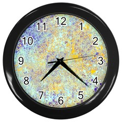 Abstract Earth Tones With Blue  Wall Clocks (black)