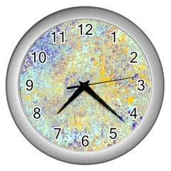 Abstract Earth Tones With Blue  Wall Clocks (silver)