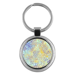 Abstract Earth Tones With Blue  Key Chains (round)