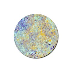 Abstract Earth Tones With Blue  Rubber Round Coaster (4 pack)
