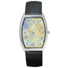 Abstract Earth Tones With Blue  Barrel Metal Watches