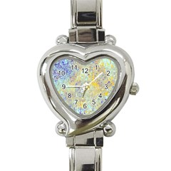Abstract Earth Tones With Blue  Heart Italian Charm Watch