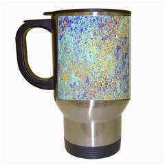 Abstract Earth Tones With Blue  Travel Mugs (white)