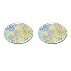 Abstract Earth Tones With Blue  Cufflinks (oval)