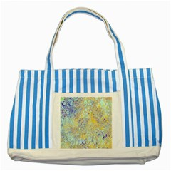 Abstract Earth Tones With Blue  Striped Blue Tote Bag