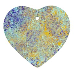 Abstract Earth Tones With Blue  Heart Ornament (2 Sides)