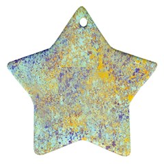 Abstract Earth Tones With Blue  Star Ornament (two Sides)