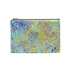Abstract Earth Tones With Blue  Cosmetic Bag (medium)