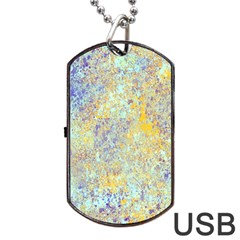 Abstract Earth Tones With Blue  Dog Tag Usb Flash (one Side)