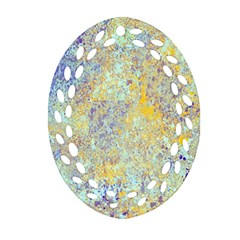 Abstract Earth Tones With Blue  Oval Filigree Ornament (2-Side)